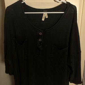 Free People black short-sleeve flowy top